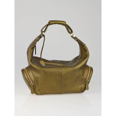 Tod's Metallic Bronze Leather Side Zip Hobo Bag