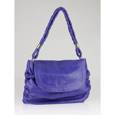 Tod's Periwinkle Blue Python Softy Messenger Media Bag