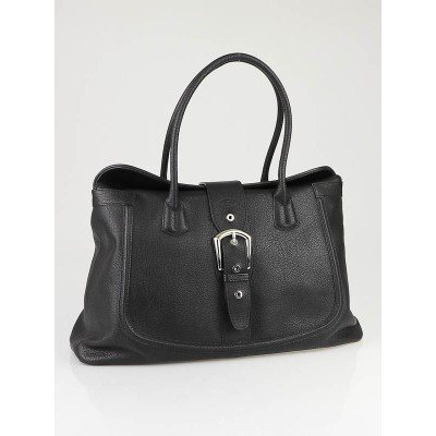 Tod's Black Leather Buckle Tote Bag
