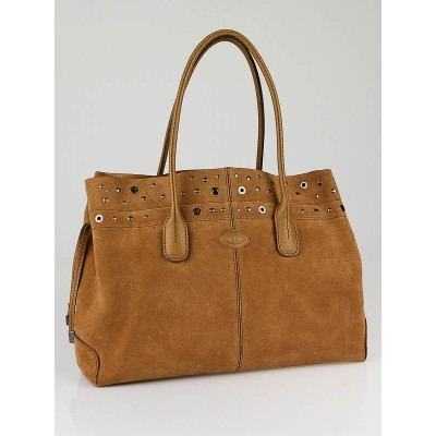 Tod's Tan Suede Studded D-Bag Media Tote Bag