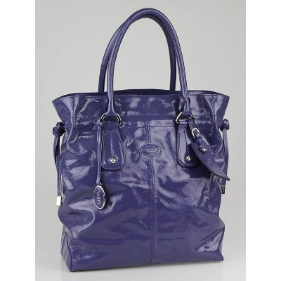 Tod's Periwinkle Patent Leather New Restyling D-Bag Media Bag