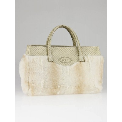 Tod's Beige Fur and Python Small Tote Bag