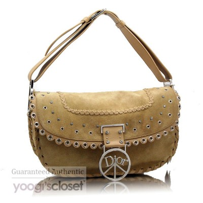 Christian Dior Tan Suede Crystal Peace Hobo Bag