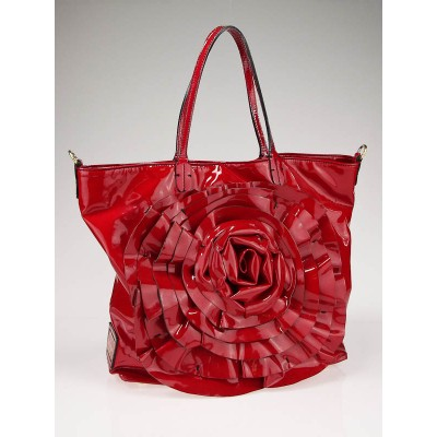 Valentino Garavani Red Coated Canvas Large Petale Tote Bag