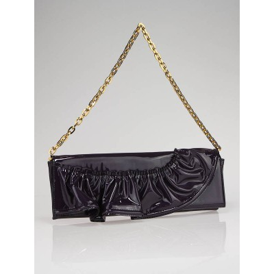 Valentino Garavani Purple Patent Leather Convertible Ruffle Clutch Bag