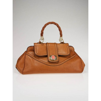 Valentino Garavani Tan Leather and Swarovski Crystal Satchel Bag