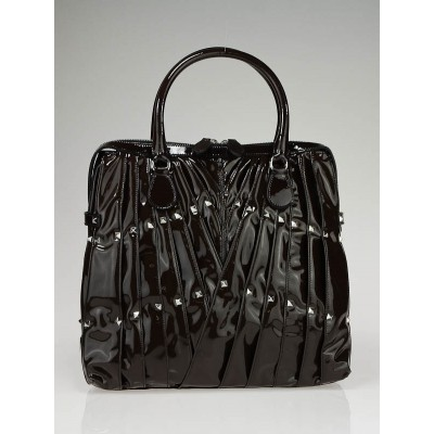 Valentino Dark Brown Patent Leather Maison Hard Tote Bag