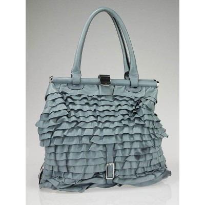 Valentino Garavani Light Blue Leather Allure Frame Satchel Bag