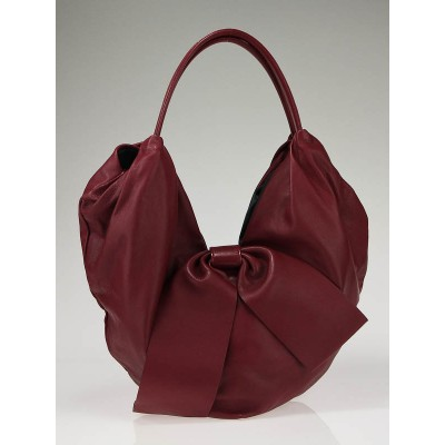 Valentino Garavani Burgundy Nappa Leather 360 Bow Hobo Bag