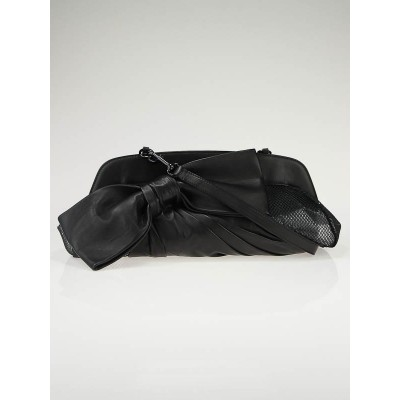Valentino Garavani Black Leather and Mesh Oversized Bow Clutch Bag