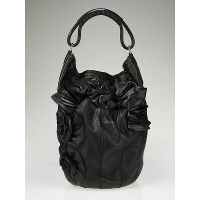 Valentino Black Nappa Leather Rosette Bucket Bag