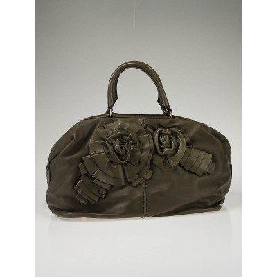Valentino Garavani Olive Leather Petale Satchel Bag
