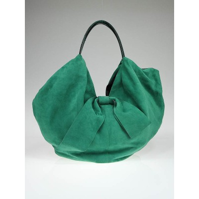 Valentino Garavani Green Suede Large 360 Bow Bag