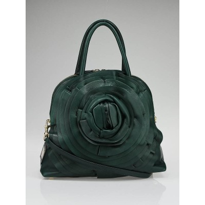Valentino Garavani Dark Green Nappa Leather Petale Dome Tote Bag