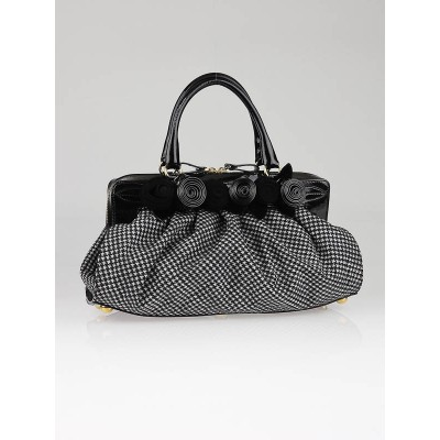 Valentino Garavani Black Patent Leather and Houndstooth Fleur Frame Bag