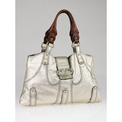 Valentino Garavani Gold Metallic Leather Catch Tote Bag