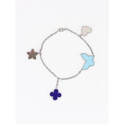Van Cleef & Arpels 18k White Gold Lapis Mother-of-Pearl and Turquoise Lucky Alhambra 4 Motif Bracelet