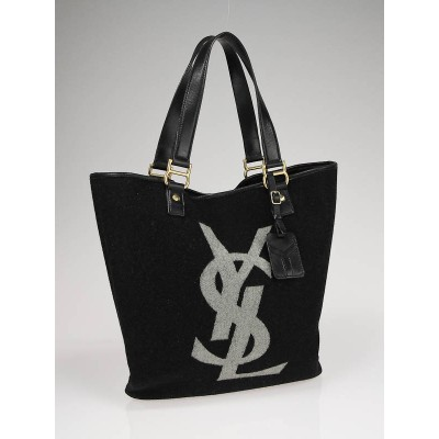 Yves Saint Laurent Charcoal Wool and Leather Trim Logo Flat Tote Bag