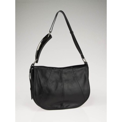Yves Saint Laurent Black Lambskin Leather Mombasa Horn Shoulder Bag