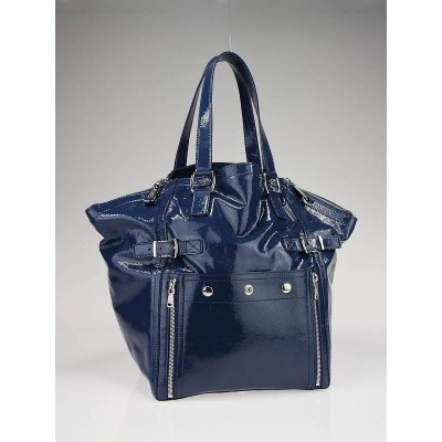 Yves Saint Laurent Blue Patent Leather Medium Downtown Bag