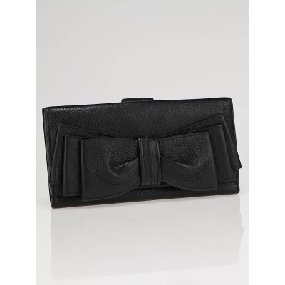 Yves Saint Laurent Black Leather Bow Continental Long Wallet