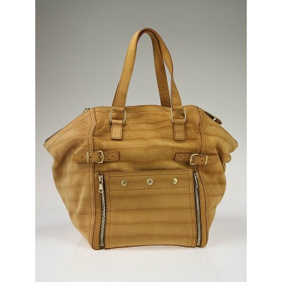 Yves Saint Laurent Almond Crocodile Embossed Nubuck Medium Downtown Bag
