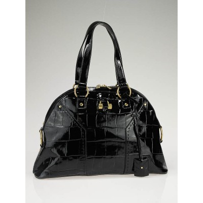Yves Saint Laurent Black Patent Embossed Muse Bag