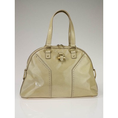Yves Saint Laurent Cream Patent Leather Large Muse Bag
