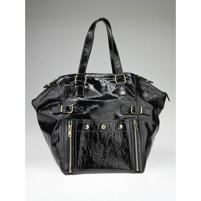 Yves Saint Laurent Black Patent Leather Medium Downtown Tote Bag