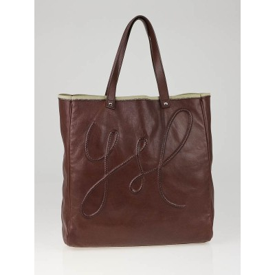 Yves Saint Laurent Brown Leather Charms Tote Bag
