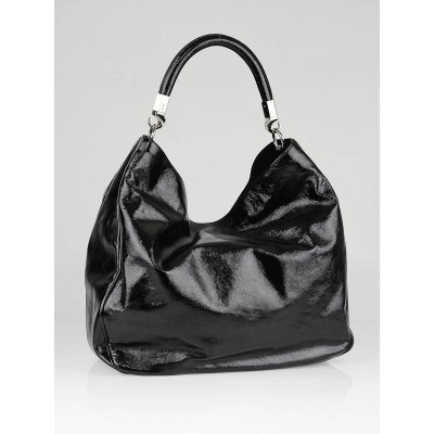 Yves Saint Laurent Black Patent Leather Large Roady Bag