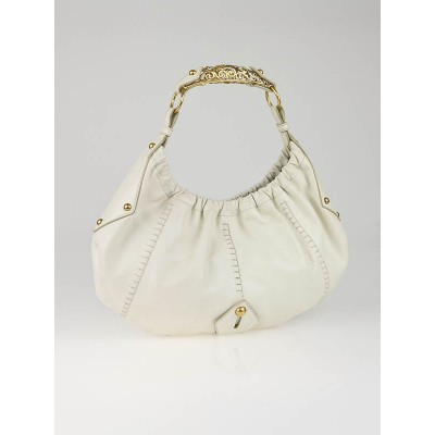 Yves Saint Laurent White Leather Vincennes Mombasa Hobo Bag
