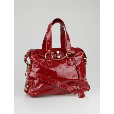 Yves Saint Laurent Red Croc Embossed Patent Leather Muse Messenger Bag