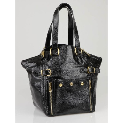 Yves Saint Laurent Black Patent Leather Small Downtown Tote Bag