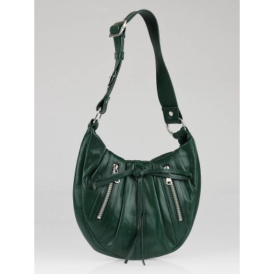 Yves Saint Laurent Green Leather Zipper Shoulder Bag