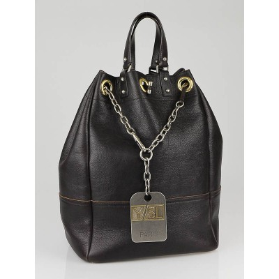 Yves Saint Laurent Brown Leather Large Overseas Tote Bag