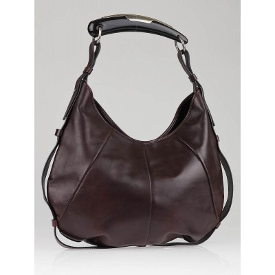 Yves Saint Laurent Dark Brown Lambskin Leather Mombasa Horn Bag