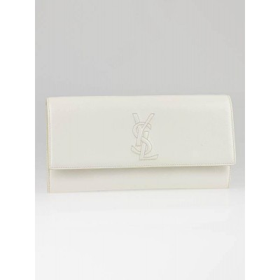 Yves Saint Laurent White Patent Leather Sac Be De Jour Clutch Bag