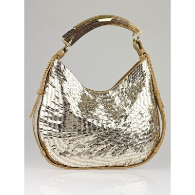 Yves Saint Laurent Gold Sequin and Satin Mombasa Horn Bag