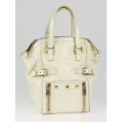 Yves Saint Laurent Ivory Patent Leather Mini Downtown Bag