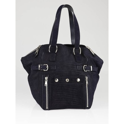Yves Saint Laurent Navy Blue Lizard Embossed Nubuck Leather Small Downtown Bag