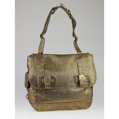 Yves Saint Laurent Metallic Bronze Volcano Crackled Leather Medium Besace Bag