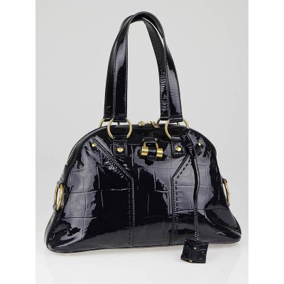 Yves Saint Laurent Navy Blue Croc Embossed Patent Leather Medium Muse Bag