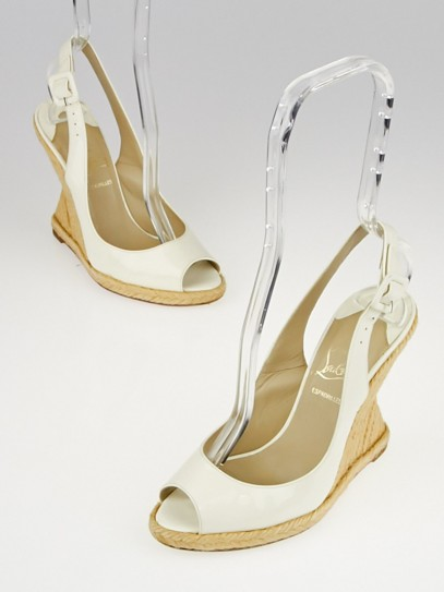 Christian Louboutin White Patent Leather You Love 120 Espadrille Wedges Size 4.5/35