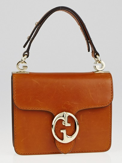 Gucci Brown Leather 1973 Small Top Handle Bag