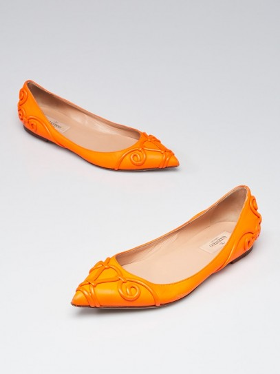 Valentino Neon Orange Leather Intrigate Flats Size 6.5/37