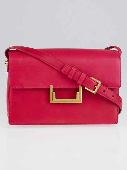 Yves Saint Laurent Fuchsia Calfskin Leather Medium Lulu Bag