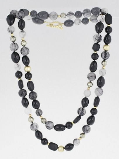 David Yurman 18k Gold with Tourmalated Quartz and Black Onyx DY Signature Bead Necklace