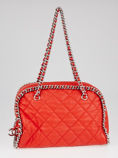 Chanel Red Quilted Leather Chain Around Bowler Bag