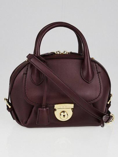 Salvatore Ferragamo Burgundy Smooth Calfskin Leather Mini Fiamma Bag